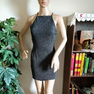 One Clothing Silver And Black Mini Dress